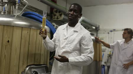 distillation tank : African american man brewer is inviting to brew-house, man working on background Stock Footage