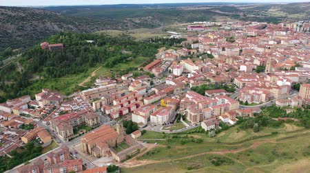 rendes : Panoramic view from the drone on the city Soria. Spain