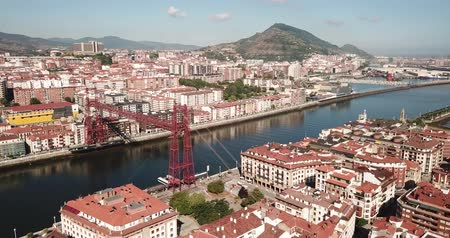 vizcaya : Panoramic view of famous Vizcaya Bridge crossing Nervion River in Portugalete, Spain