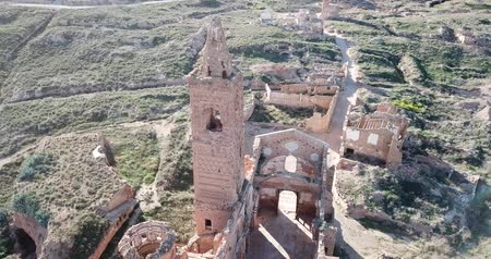 Aerial view of ghost town of Belchite ruined in battle during Spanish Civil War Stock mozgókép