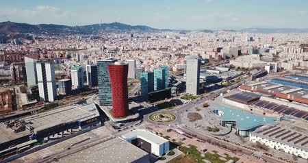 Panoramic aerial view of business district of Gran Via and Placa d Europa with modern skyscrapers Stock mozgókép