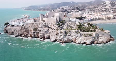 Aerial view of coastline and medieval castle Peniscola, Spain