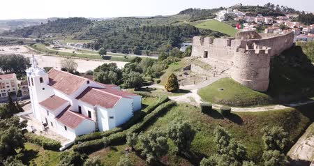 Aerial view of Graca Monastery  and fortress landmark of Torres Vedras,  Portugal