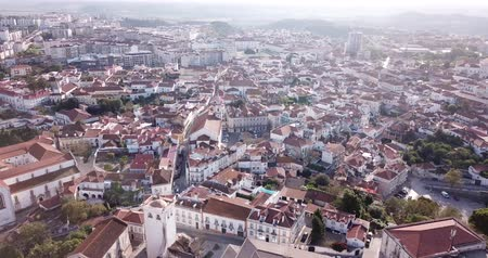 Aerial panoramic view of  Santarem city with buildings and landscape, Portugal Stock mozgókép