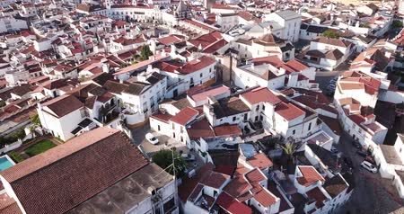 Panoramic view of old town quarters of Elvas, Portugal Stock mozgókép