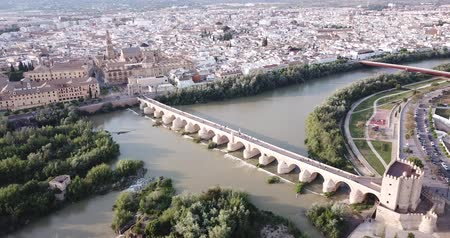 Panoramic top view of historical center of Cordoba city, Spain Stok Video