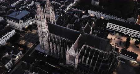 Aerial view of medieval Tours Cathedral and night city Tours, France Stok Video