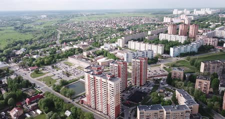Scenic view from drone of modern cityscape of Russian city of Chekhov Stock mozgókép