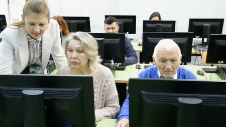 Positive young female coach giving computer lessons for group of middle aged people