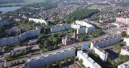 klyazma : Picturesque aerial view of cityscape of Russian city of Orekhovo-Zuyevo located on two banks of Klyazma River in sunny day