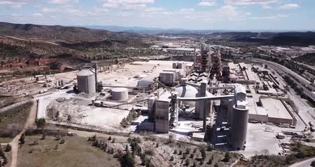 procesor : BUNOL, SPAIN - APRIL 24, 2019: View from the cement plant industrial, Bunol, Spain