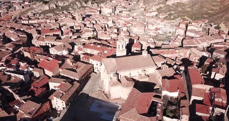 оборонительный : Aerial panoramic view of tiled housetops and Cathedral in medieval Daroca, Spain