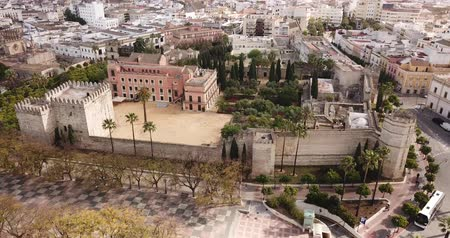 mór : Aerial view of Catholic Cathedral and famous Alcazar of Jerez de la Frontera, Spain