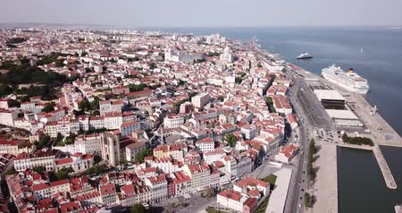 maria : Panorama from drone of Lisbon historical center and oldest city church Se Cathedral