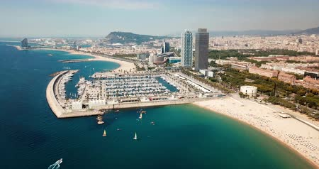 cloud scape : Aerial view of Barcelona cityscape on Mediterranean coastline, Spain