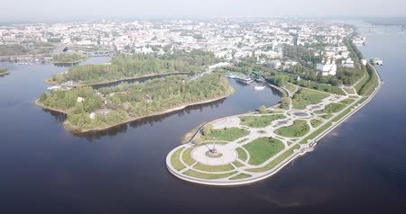 architectural heritage : Aerial panoramic view of Yaroslavl cityscape with famous Strelka park and old Assumption Cathedral on sunny summer day, Russia Stock Footage
