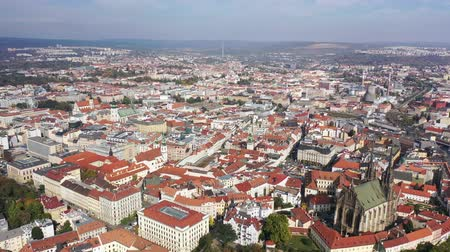 rendes : Panoramic view from the drone on the city Brno. Czech Republic