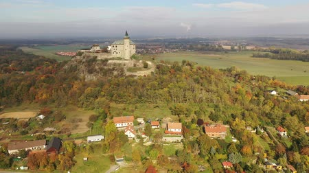 hora : View from drone of Czech medieval Kunetice Mountain Castle Stock Footage