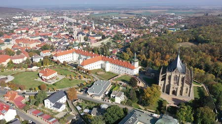 kutna : View from drone of Czech town Kutna Hora with medieval Saint Barbara Cathedral Stock Footage