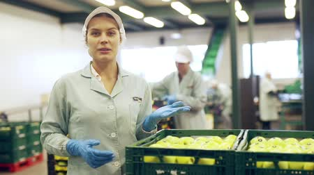 agrarian : Portrait of confident young female worker standing near boxes of fresh ripe apples in fruit sorting factory Stock Footage