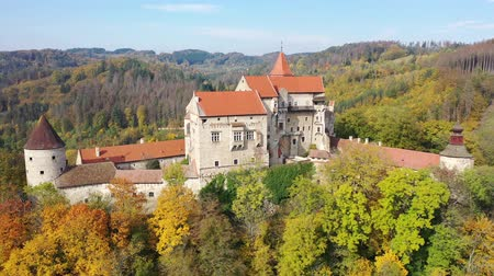 Fall view from drone of medieval Pernstejn Castle, Czech Republic