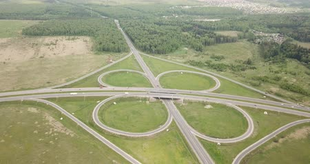 Aerial view above of a new highway road  with road junction in Russia Stok Video