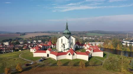 Picturesque aerial view of Czech Zdar nad Sazavou cityscape with Church of Saint John of Nepomuk at sunny fall day Stok Video