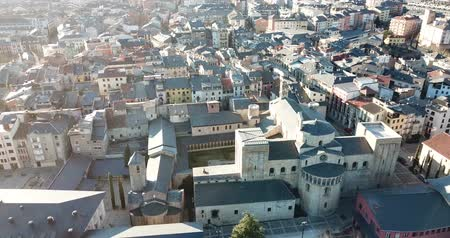 Мария : View from drone of medieval Cathedral of la Seu dUrgell and residential area of city in sunny winter day, Catalonia, Spain