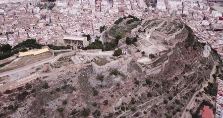 neglected : Panoramic view from drone of the castle Sagunto in summer. Valencian Community; Spain