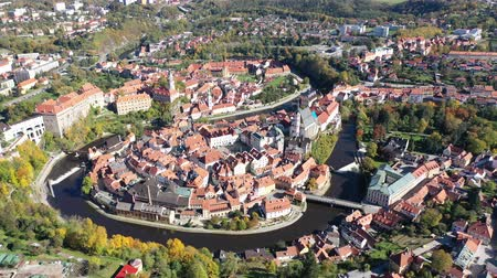 rendes : Panoramic view from the drone on the city Cesky Krumlov. Czech Republic