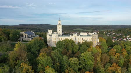замок : View from drone of medieval castle in Hluboka nad Vltavou, Czech Republic