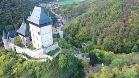 monumentális : View from drone of medieval castle in Karlstejn town, Czech Republic