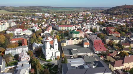 rendes : Panoramic view from the drone on the city Krnov. Czech Republic Stock mozgókép