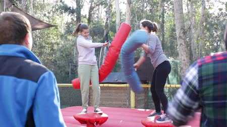 painless : Happy female friends fighting by big stuffed boxing gloves at outdoor amusement playground