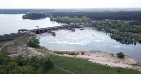 porta de entrada : Landscape with concrete dam on river near Voronezh, Russia