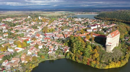 citadela : Aerial view of medieval castle Plumlov. City of Plumlov. Czech Republic