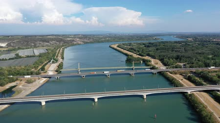 pont : Picturesque aerial view of Rhone river with three bridges near small town Roquemaure in Gard department of southern France