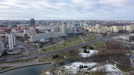 hilton : MINSK, BELARUS - JANUARY 1, 2020: Aerial view of Minsk city center, Belarus