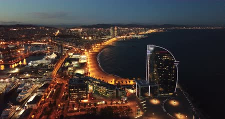 obyčejný : Evening view of Barceloneta and Port Vell. Barcelona. Spain Dostupné videozáznamy