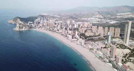 sand bank : Panoramic view of resort sand coast and buildings of city Benidorm, Spain
