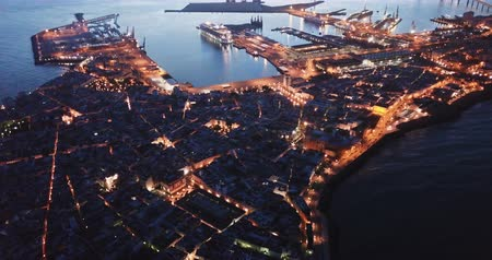 barok : Panoramic view of  Cadiz port city with medieval Cathedral at dawn, Spain Stok Video