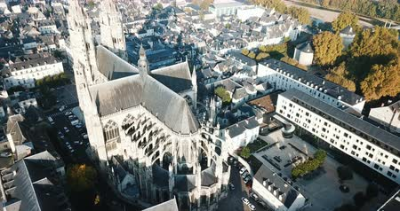 romanesk : Aerial view of illuminated Tours cityscape with famous Cathedral in morning, France Stok Video