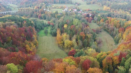 territorial : Scenic autumn country landscape with colorful trees on hillsides and empty fields