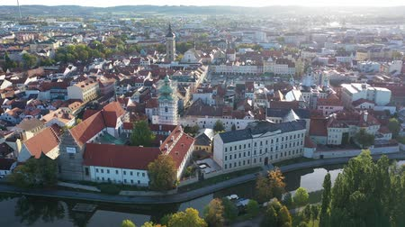 rendes : Panoramic view from above on the city Ceske Budejovice. Czech Republic