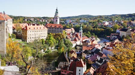 Čechy : Landscape of small czech town of Cesky Krumlov and Vltava river in autumn day
