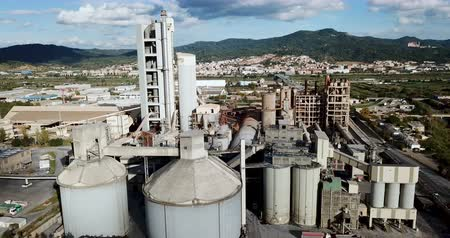 procesor : Aerial view of a huge cement plant with warehouses in Catalonia, Spain
