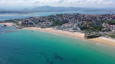 plachta : Panoramic aerial view of sea shore of Santander, Cantabria, Spain