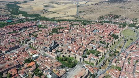 fortificado : General aerial view of Spanish fortified city of Avila in sunny summer day