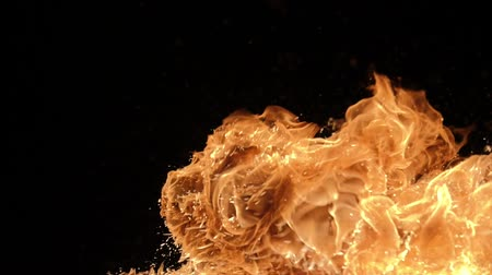 detonation : Slow motion of fire blasts isolated on black background. Filmed on high speed camera, 1000 fps