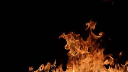 fireball : Slow motion of fire wall isolated on black background. Stock Footage